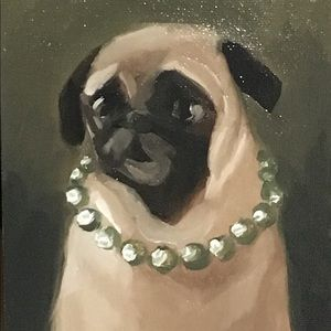 Pug oil painting 5x7 canvas board mops pearls dog